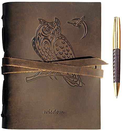Leder Notizbuch A5 Tagebuch Journal Geprägt Eule Handgefertigte Reisetagebuch, Vintage Notebook Für Männer Frauen Antik Rustikal Echtes Leder 21X15Cm Geschenk Sketchbook Reisende Travelers Notebook
