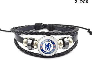 FANwenfeng Retro Premier League Soccer Club Badge Beaded Woven Leather Bracelet Football Sport Wristband for Fans 2 Pcs