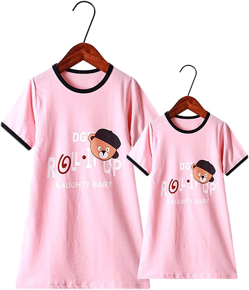 Cute Cartoon Print Short Sleeve Sleep Skirts Family Outfit Matching Clothes Mom and Daughter Matching Dresses