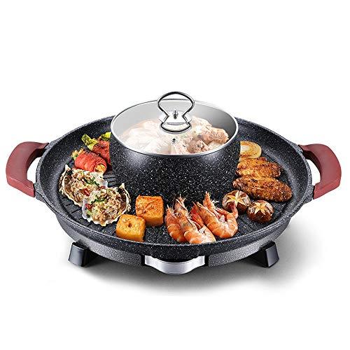 Maifan stenen barbecue plaat, hete pot grill geïntegreerde pot, elektrische grill, huishoudelijke ronde teppanyaki plaat, hete pot kan worden gescheiden