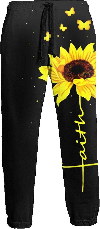Mens Elastic Waist Sweatpants Yellow Butterfly Sunflower Joggers Sweatpants for Gym Training Sport Pants
