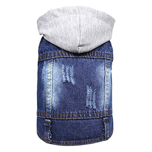 DABLUE Pet Denim Coat Dog Jeans Jacket Doggie Vest for Small Medium Dogs Cats Puppy Washed Clothes Hoodie