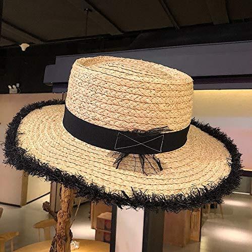 Hat Home Chapeau de Paille Lafite Les Les dames Dentelle Noire Chapeau de Paille tissée à la Main en Peluche