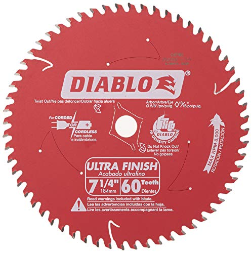 "Freud D0760A Diablo 7-1/4"" x 60-Tooth Ultra Fine Finishing Circular Saw Blade with 5/8"" Arbor and Diamond Knockout Single Blade"