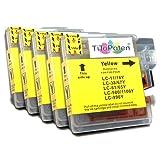 5X kompatible Premium XL Druckerpatronen für Brother DCP 195 C in Gelb. Sehr Gute Laufleistung und Preiswert!