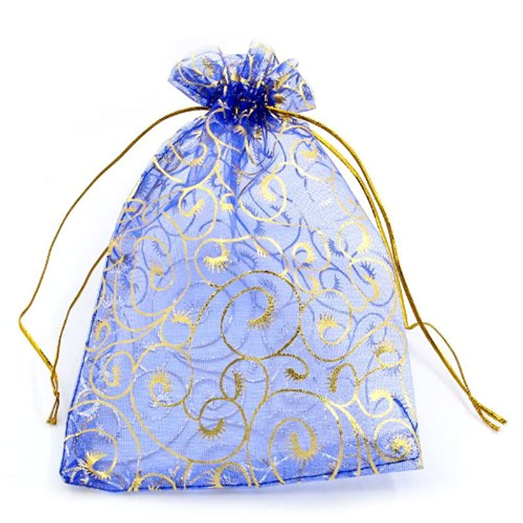 PEPPERLONELY Brand 30PC Organza Drawable Wedding Gift Bags&Pouches Royal Blue W/Golden Flower Pattern 19.5x13.5cm(7-5/8 x 5-3/8)