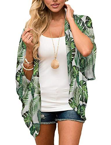 Chunoy Women Floral Short Sleeve Shawl Chiffon Casual Kimono Cover Up Light Green Medium