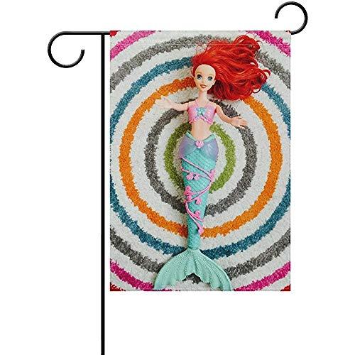 KDU Fashion Tuin Vlaggen, Leuke Zeemeermin Pop Tuin Vlag Twee Zijwaarts Decoratie Polyester Outddor Vlag 32 cm x 48 cm