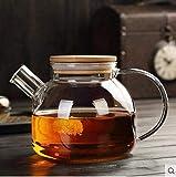 ZQADTU Tetera con colador Juego de té de Vidrio Resistente al Calor Tetera de Flores Tetera de Frutas Filtro de bambú Olla de Boca Corta Botella de Agua fría