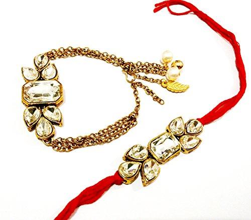JN HANDICRAFT Golden Non-Precious Metal Kundan Rakhi for Couple