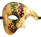 Luxury Mask Men's Phantom Of The Opera Half Face Masquerade Mask Vintage Design, Purple/Green/Gold/Mardi Gras, One Size