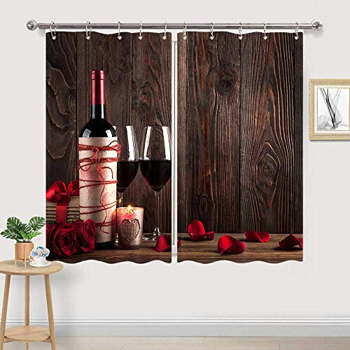 Red Wine Kitchen Curtain, Red Wine Glass and Rose on Old Rustic Wooden Board Window Drapes Curtains 2 Panels, Tuscany Curtains for Kitchen Window Wine Theme Kitchen Valance, 55W x 39L inch