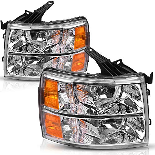 For 2007-2013 Chevy Silverado 1500 Headlights & 2007-2014 Chevy Silverado 2500HD / 3500HD Pickup 2-Dr / 4-Dr OEDRO Amber Side Chrome Housing Replacement Headlight/Lamp Set Left+Right, 2-Yr Warranty