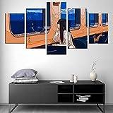 HAOQIPA Cuadro Moderno En Lienzo 5 Piezas Ilustrador De Anime Jiaocha Póster De Arte Moderno Oficina Sala De Estar O Dormitorio Decoración del Hogar Arte De Pared(150x80CM)