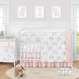Sweet Jojo Designs Pastel Rainbow Baby Girl Nursery Crib Bedding Set – 5 Pieces – Blush Pink, Purple, Teal, Blue and White