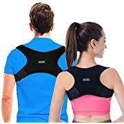 Posture Corrector Back Support Brace for Men and Women - Upper Back Brace Straightener with Adjustable Breathable Clavicle Support Effective for Neck Pain Relief and Shoulder Pain Black