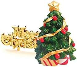 Creative Party BX219 Green Tree and Gold Merry Christmas Cake Topper-2 Pcs