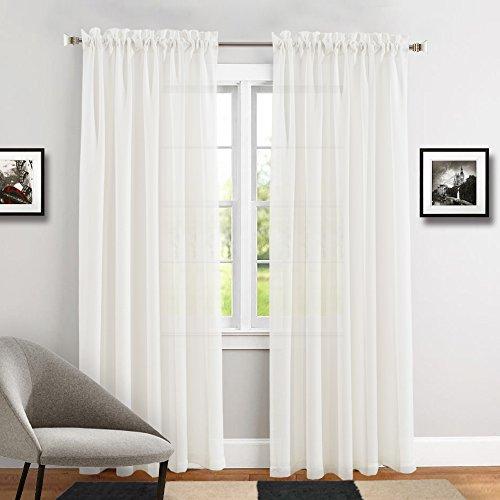 TOPICK Transparent Voile Gardinen Vorhänge für Wohnzimmer mit Stangendurchzug, 213 x 140 cm(H x B), 2 Stücke,Weiß