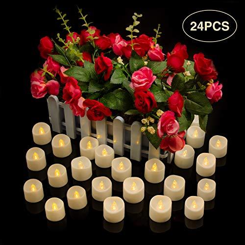 Led Kerzen, Led Teelicht, Elektrische Kerze Lichter, Flammenlose Kerzen, Batterie Teelichter - Realistisch flackernde LED-Flammen, Dekoration für Feier und Festivals [24 Stück, Warm-weiß]