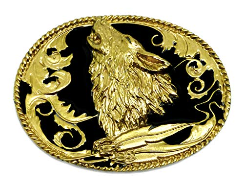 Siskiyou Belt buckle with wolf design howling in black and gold with American West theme