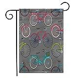 12.5 'x 18' Bandera de jardín Resumen Retro Pop y Vintage Bicicleta Bicicleta Dibujos Animados Catálogo Exterior de Doble Cara Decorativo Casa Patio Banderas