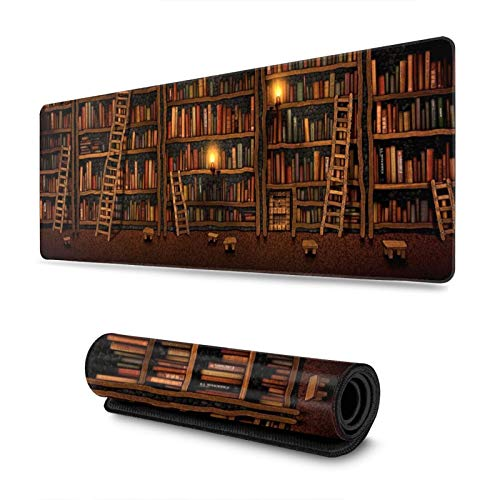 Vintage Bookshelf Gaming Mouse Pad, Long Extended XL Mousepad Desk Pad, Large Non-Slip Rubber Mice Pads Stitched Edges, 31.5'' X 11.8''
