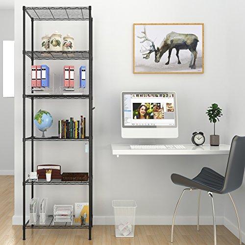 BATHWA 6 Ablage Standregal Badezimmerregal Metallregal Küchenregal mit Seitenhaken aus verchromt 54 x 29 x 160cm, Schwarz