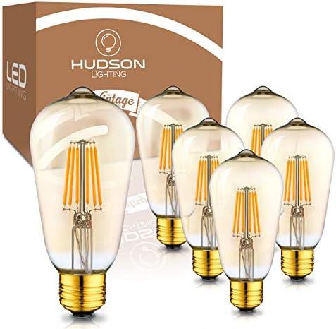 Dimmable LED Edison Light Bulbs 6 Watt 2200K Warm Lightbulbs Amber Gold Glass 60 Watt Equivalent product image