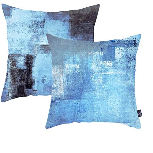 Symiiaus Throw Pillow Covers Pack of 2 Soft Velvet Decorative Pillows for Couch Pillows 18 x 18 Inch Modern Abstract Art Pillow Cases for Bedroom Sofa Living Room Turquoise Grey