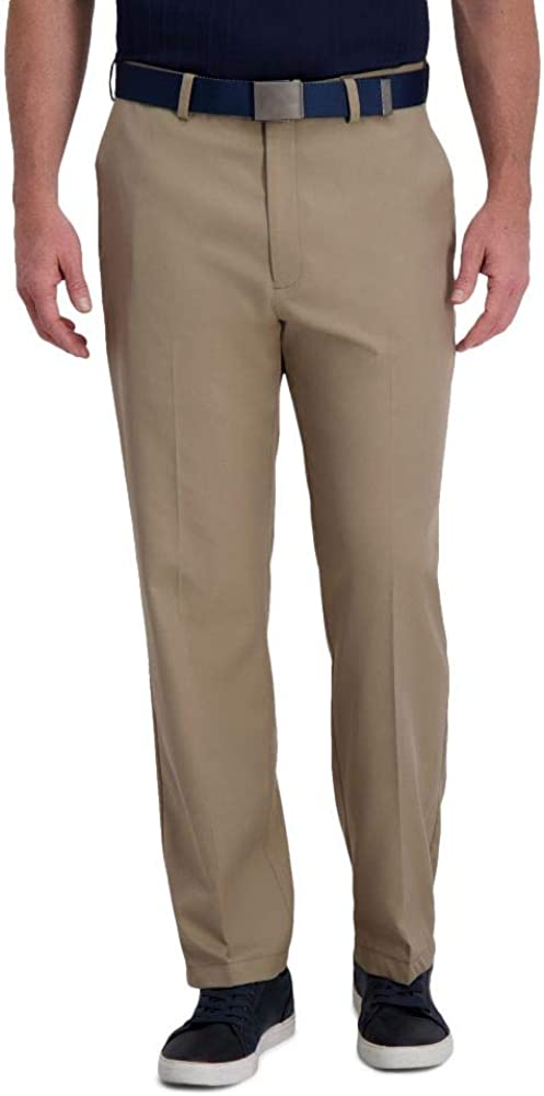 Haggar Men's Cool Right Performance Flex Solid Classic Fit Flat Front Expandable Waist Pant