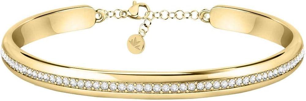 Morellato,collezione cerchi, bracciale per donna, in acciaio,pvd oro giallo e cristalli. SAKM73
