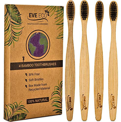 4 Count I Bamboo Toothbrush I Soft Bristles Best for Sensitive Gums I Charcoal I Vegan I Natural Wood I BPA Fee I Recyclable I Compostable I Biodegradable | Environmentally Friendly | by EveEco
