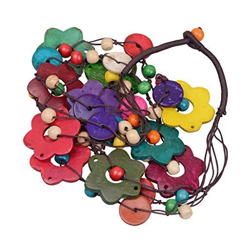 Bonarty Collar de Cuentas de Tejido de Concha de Coco Bohemio de Mujer - Colorido Flores 80cm
