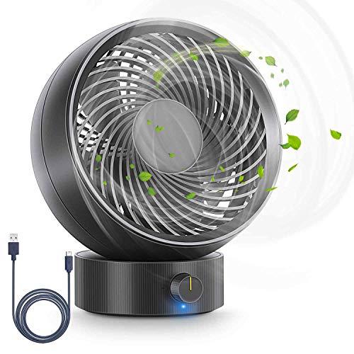 RenFox Ventilateur, Ventilateur USB Ventilateur de Table Mini Ventilateur Ventilateur Silencieux 180 Types de Vitesse du Vent, Peut S'ajuster de 20 Degrés, pour Camping, Bureau/Voyage/Alimenté(Noir)