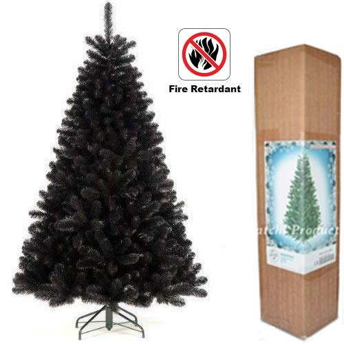 7ft - Black Christmas Tree Imperial Tips Artificial Tree with Metal Stand