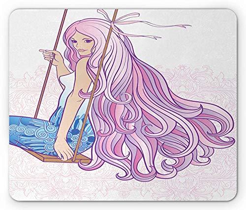 Makeup Mouse Pad, Junge Frau mit langem Haarschnitt auf Swing Feminine Figur auf Vintage Motiven Hintergrund, Rechteck Rechteck rutschfest Gummi Mousepad, Mehrfarbig