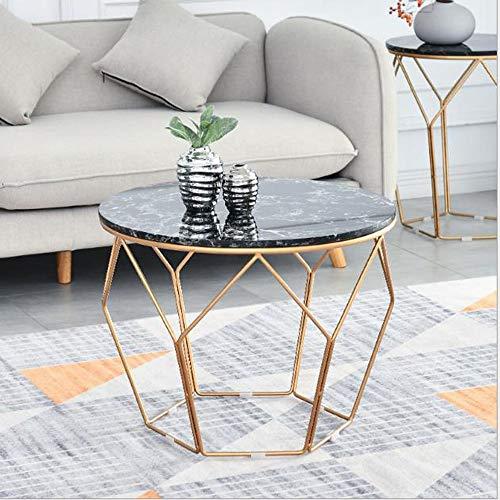 Mesa de Centro Mesa Auxiliar Mesa Centro Ronda de mesa de café grande, mármol blanco de mesa, marco de metal forjado mesa de hierro, sencillo y moderno, utilizadas for el hogar decoración de la sala d