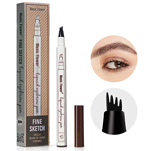 Eyebrow Tattoo Pen, Waterproof Eyebrow Pencil for Professional Makeup, Microblading Eyebrow Pen with 4 Micro-Fork Tips for Creates Natural Looking Eyebrows (Brown)