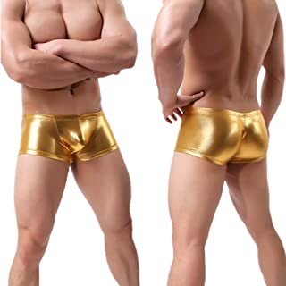 YUEDIAN Men's Underwear Low-Waist Boxer Shorts Faux Leather Boxer Shorts Performance Costume