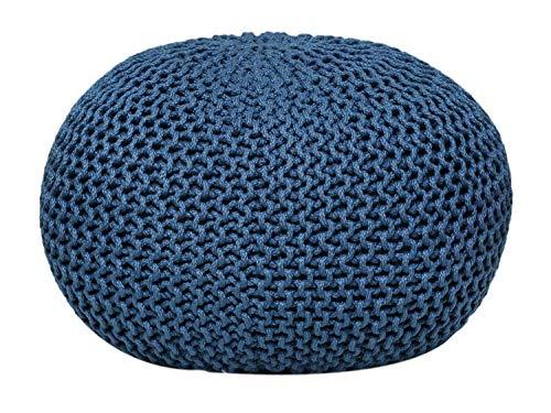 casamia Premium Pouf waschbar Strickhocker Sitzpouf Sitzpuff 100% wasserfest Sitzhocker Bodenkissen Sitzgelegenheit Grobstrick-Optik Ø 55 x 37 cm EXTRAGROSS Farbe blau - Mallard Blue