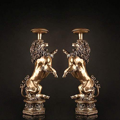 QIDOFAN Crafts Amerikanische Klassische kreative Einzugsgeschenk Hauptdekoration Doppel Löwe Kerzenleuchter 1 Satz 16 * 26 * 55cm Stilvoll und schön