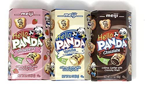 Meiji Hello Panda Cookies Variety Pack of 3 flavors (Chocolate, Vanilla, Strawberry) (1 of each, total of 3)