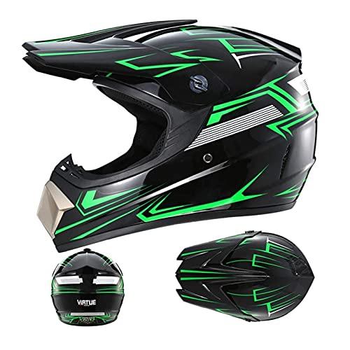 Casco de seguridad de la motocicleta, Casco MTB de la cara completa Unisex Off Road Quad Motocicleta Casco Casco Hombres y mujeres Casco de motocross Conjunto con guantes / gafas / máscara