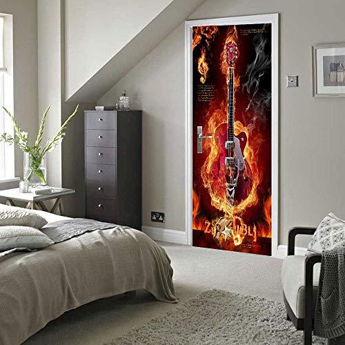XXXCH 3D Türaufkleber 80X200CM Gitarre Türtapete selbstklebend TürPoster - Fototapete Türfolie Poster Tapete Meer Aufkleber DIY Selbstklebende Wandbild PVC Wasserdichte Tapete