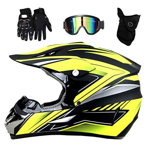 Casco de motocross con visera, gafas, máscara, guantes, casco de motocicleta, casco integral descenso, casco cross enduro quad mountain bike BMX MTB, casco quad para niños ATV go-kart, estándar DOT