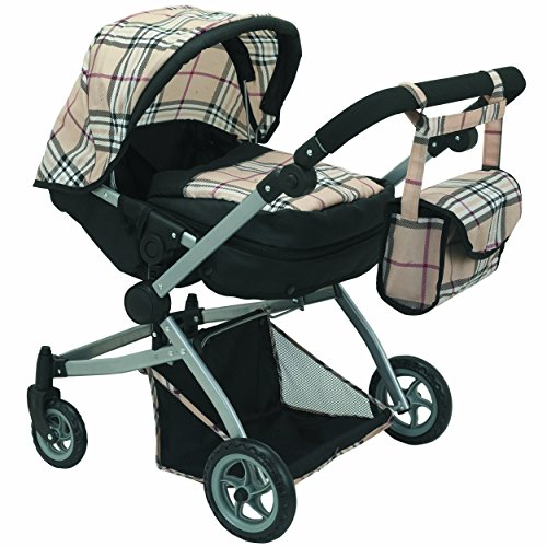 Babyboo Deluxe Twin Doll Pram Foldable Doll Stroller with Swiveling Wheels, Basket, Adjustable Handle, Convertible Seat,and Free Carriage Bag, Beige & Black Plaid Multi Function - 9651A