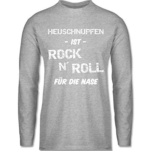 Sprüche - Heuschnupfen ist Rock n\' Roll für die Nase - M - Grau meliert - Geschenk - BCTU005 - Herren Langarmshirt