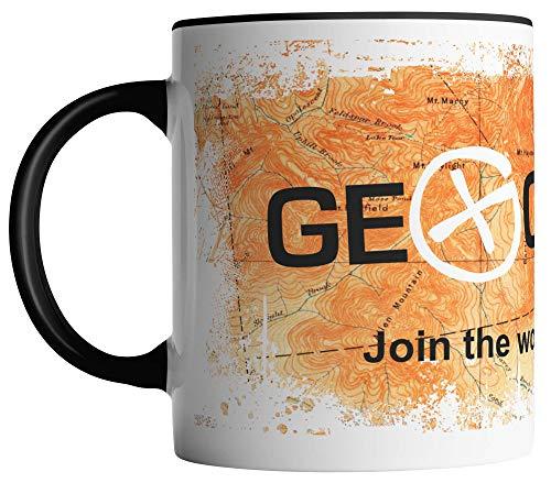 vanVerden Taza – Join the world's largest treasure hunt – Geocaching topográfico Mapa Geocacher – Impresión por ambos lados – Tazas de café, color blanco y negro