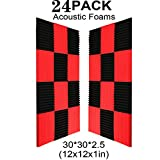 24 Pack- Black/Red Acoustic Panels Studio Foam Wedges 1' X 12' X 12' (24PCS, Black&Red)