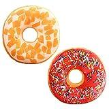 LZYMSZ 2PCS 3D Donut de Simulación, Cojín Lumbar de Felpa con Relleno, Cojín Donut Chocolate para ...